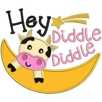 Hey Diddle Diddle Cow Flying Over The Moon Applique Machine Embroidery Design Digitized Pattern