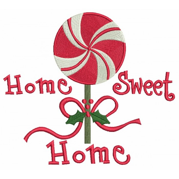 Home Sweet Home Mint Christmas Filled Machine Embroidery Design Digitized Pattern