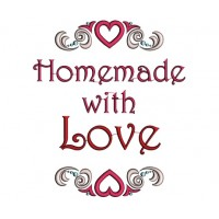 Homemade With Love Hearts Applique Machine Embroidery Design Digitized Pattern