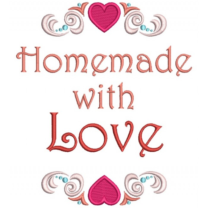 Homemade With Love Hearts Filled Machine Embroidery Design Digitized Pattern