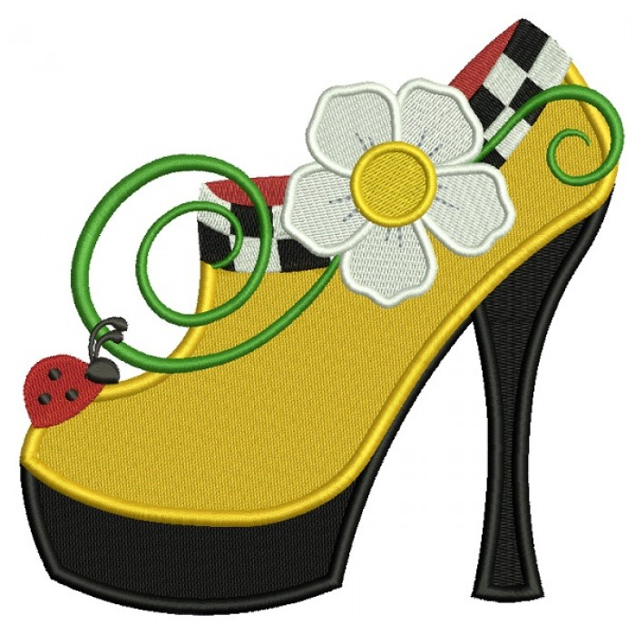 Lady's Shoe With Flower and Ladybug Filled Machine Embroidery Design Digitized Pattern