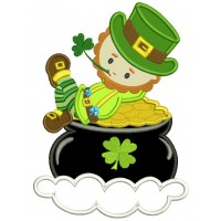 Leprechaun In a Pot of Gold Irish St Patrick's Day Applique  Machine Embroidery Design Digitized Pattern