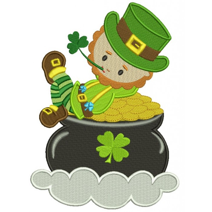 Leprechaun In a Pot of Gold Irish St Patrick's Day Filled Machine Embroidery Design Digitized Pattern