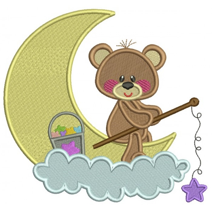 Little Bear Sitting On The Moon Filled Machine Embroidery Design Digitized Pattern