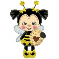 Little Bee Holding a Jar With Honey Applique Machine Embroidery Design Digitized Pattern