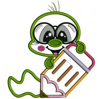 Little Book Worm Holding a Pencil School Applique Machine Embroidery Design Digitized Pattern