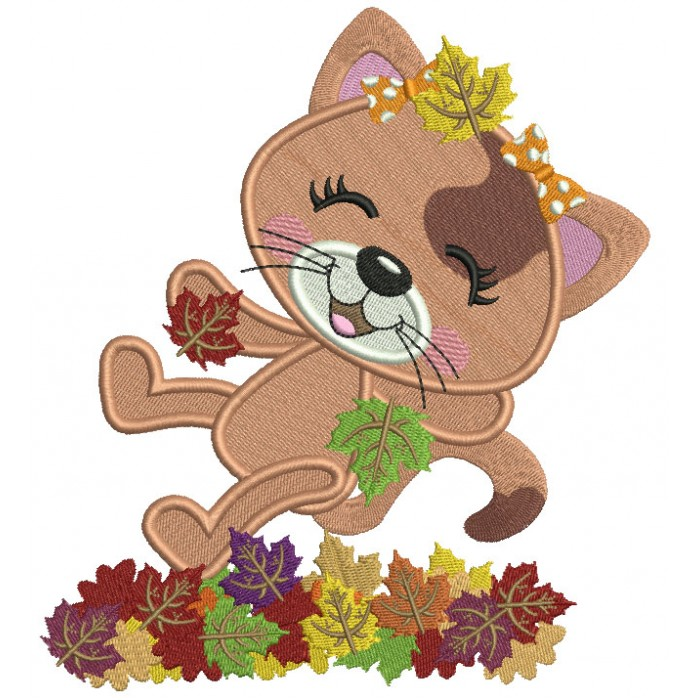 Little Cat Enjoying Falling Leaves Fall Filled Thanksgiving Machine Embroidery Design Digitized Pattern