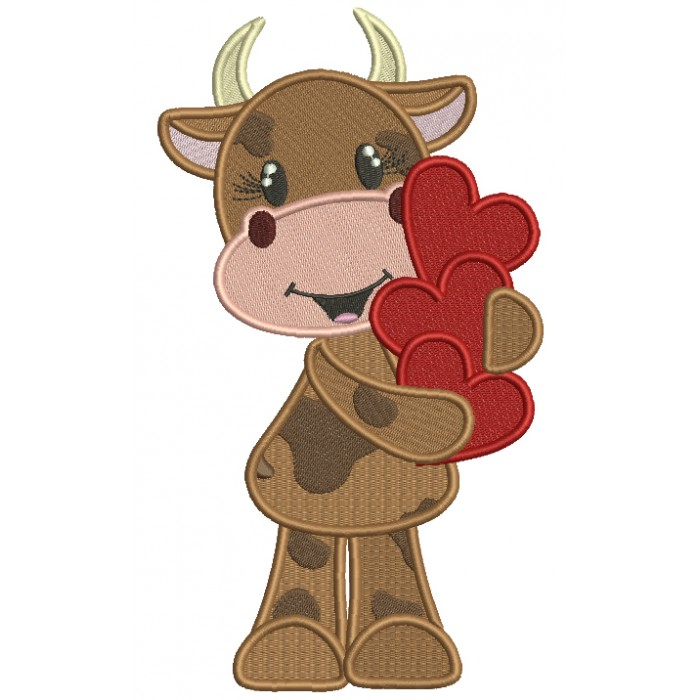 Little Cow Holding Hearts Filled Valentine's Day Machine Embroidery Design Digitized Pattern