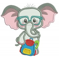Little Elephant Going Back To School Applique Machine Embroidery Design Digitized Pattern