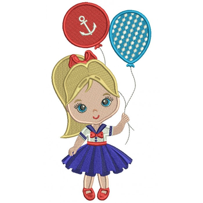 Little Girl Holding Two Balloons Filled Machine Embroidery Design Digitized Pattern