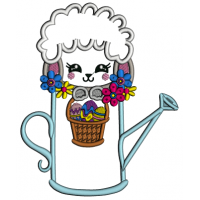 Little Sheep Sitting Inside a Watering Can Easter Applique Machine Embroidery Design Digitized Pattern