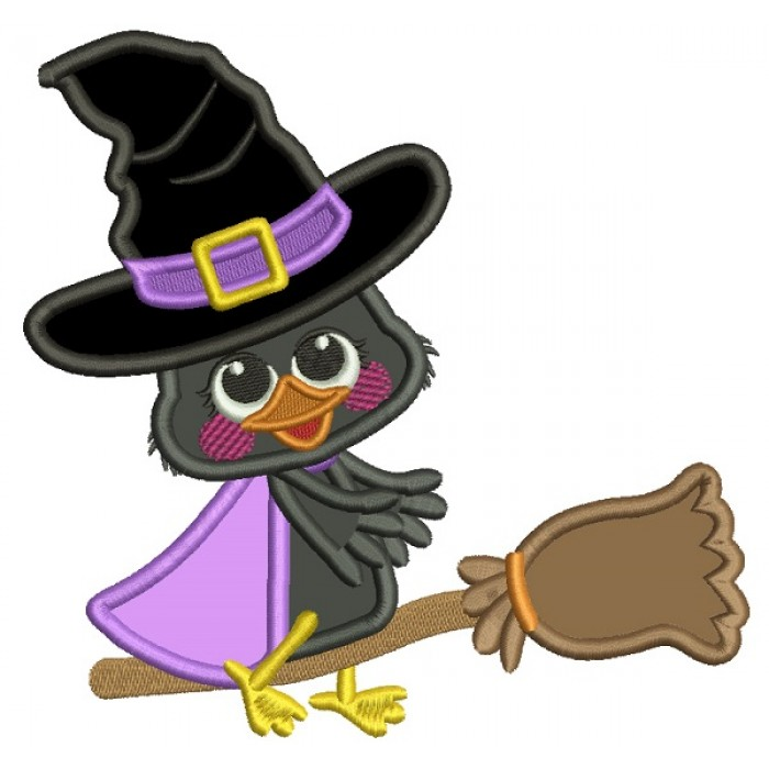 Little Witch Crow On The Broom Applique Halloween Machine Embroidery Design Digitized Pattern