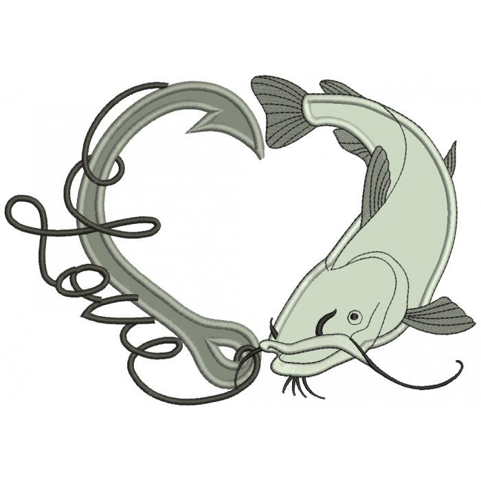 Love Fishing Hook With Fish Applique Machine Embroidery Design Digitized Pattern