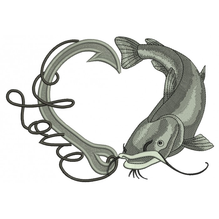 Love Fishing Hook With Fish Filled Machine Embroidery Design Digitized Pattern