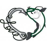 Love Fishing Hook With Inverted Fish Applique Machine Embroidery Design Digitized Pattern