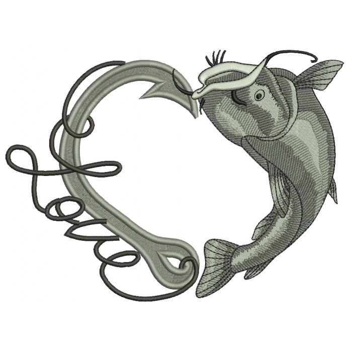 Love Fishing Hook With Inverted Fish Filled Machine Embroidery Design Digitized Pattern