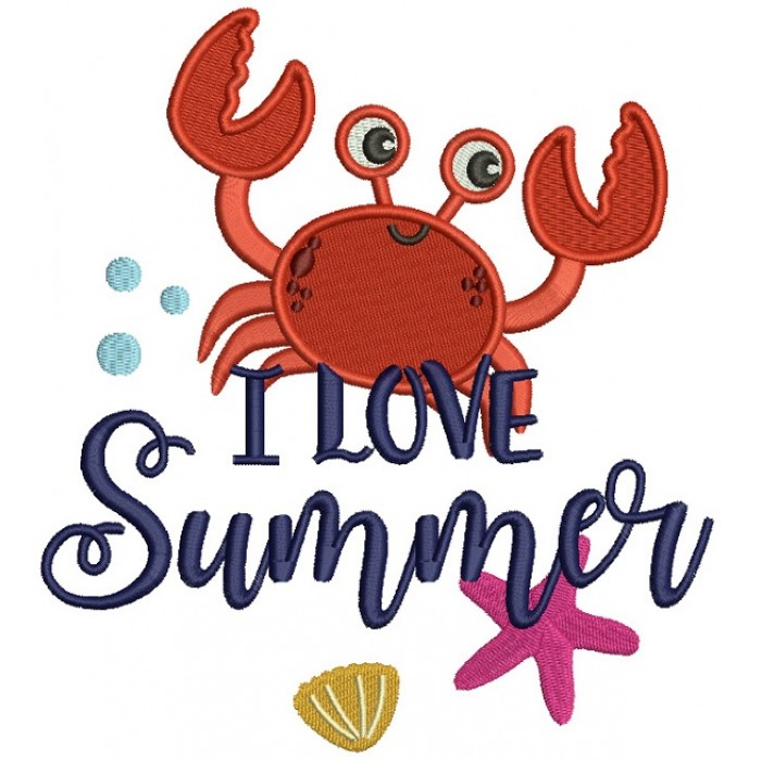Love Summer Cute Little Crab Filled Machine Embroidery Design Digitized Pattern
