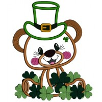 Lucky Bear With Shamrocks St. Patrick's Applique Machine Embroidery Design Digitized Pattern