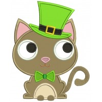 Lucky Cat Saint Patrick's Day Irish Applique Machine Embroidery Design Digitized Pattern