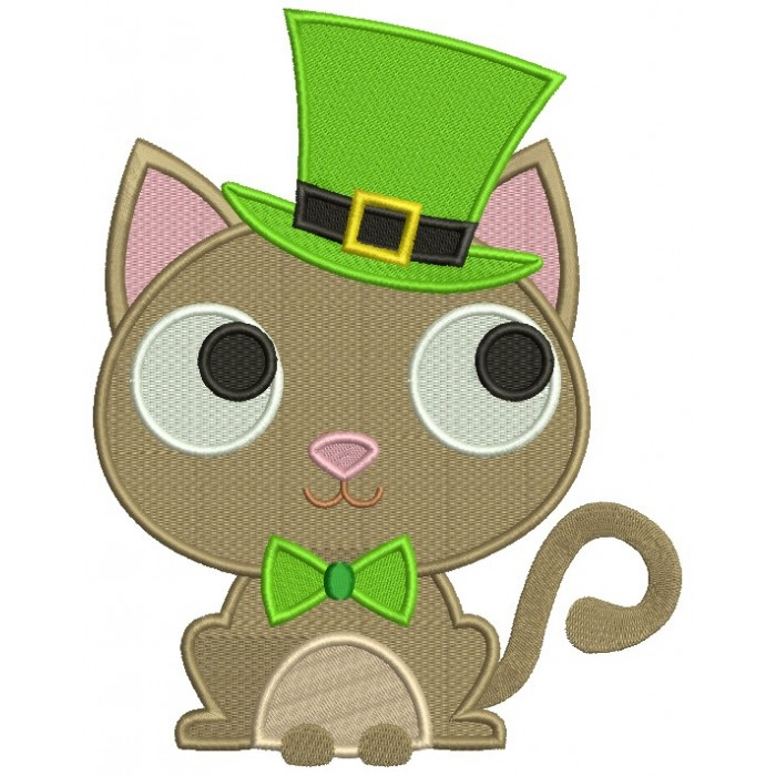 Lucky Cat Saint Patrick's Day Irish Filled Machine Embroidery Design Digitized Pattern