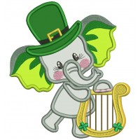 Lucky Elephant Wearing Playing Harp St. Patrick's Applique Machine Embroidery Design Digitized Pattern