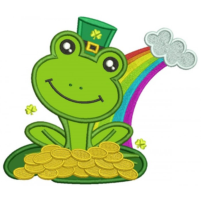 Lucky Frog Holding Gold Coins St Patricks Day Applique Machine Embroidery Design Digitized Pattern