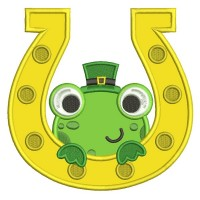 Lucky Frog Inside a Horseshoe Irish Saint Patrick's Day Applique Machine Embroidery Design Digitized Pattern