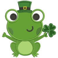 Lucky Frog With Shamrock Irish Saint Patrick's Day Applique Machine Embroidery Design Digitized Pattern
