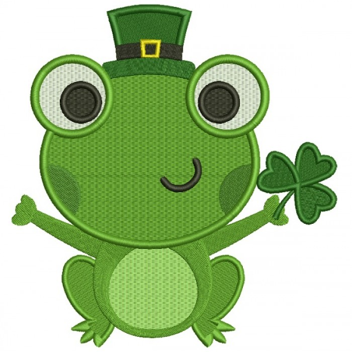 Lucky Frog With Shamrock Irish Saint Patrick's Day Filled Machine Embroidery Design Digitized Pattern