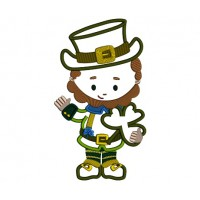 Lucky Leprechaun Irish St Patrick's Day Applique Machine Embroidery Design Digitized Pattern