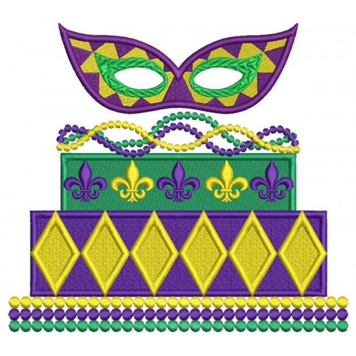 Mardi Gras Mask Cake Filled Machine Embroidery Design Digitized Pattern