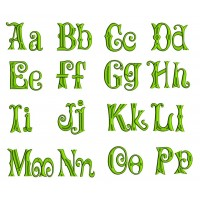 Mardi Gras Split Satin Machine Embroidery Font Upper and Lower Case 1 2 3 inches