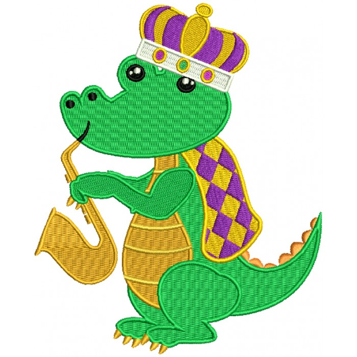 Mardi Grass Alligator Waring a Crown And Playing Saxophone Filled Machine Embroidery Design Digitized Pattern