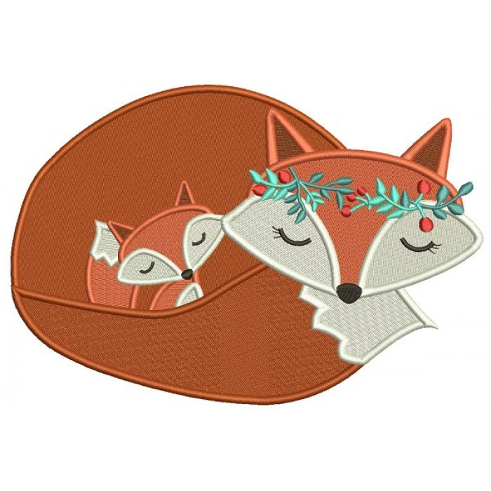Mommy and Baby Fox Filled Machine Embroidery Design Digitized Pattern
