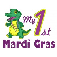 My First Mardi Gras Crocodile Applique Machine Embroidery Design Digitized Pattern