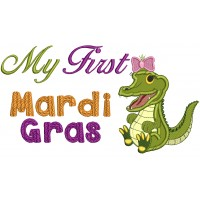 My First Mardi Gras Girl Crocodile Applique Machine Embroidery Design Digitized Pattern