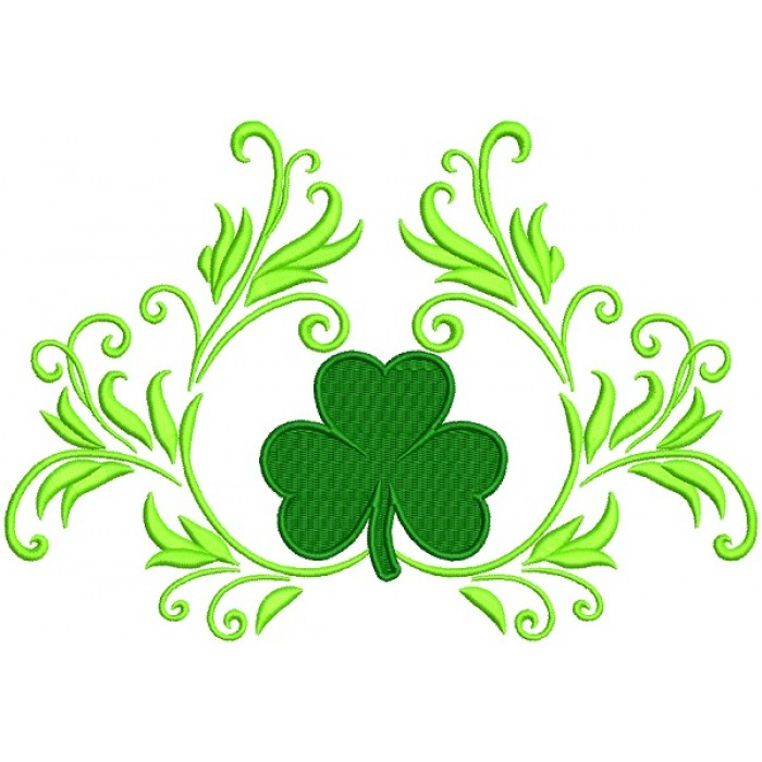 Ornamental Shamrock St. Patrick's Day Filled Machine Embroidery Design Digitized Pattern