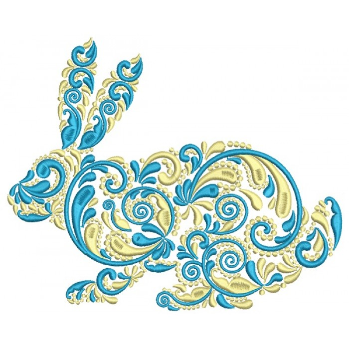Ornate Bunny Filled Machine Embroidery Design Digitized Pattern