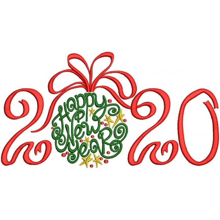Ornate Happy New Year 2020 Filled Machine Embroidery Design Digitized Pattern