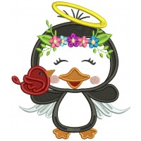 Penguin Angel Holding a BIrd Applique Christmas Machine Embroidery Design Digitized Pattern