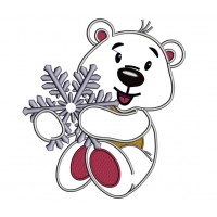 Polar Bear Holding A Snowflake Christmas Applique Machine Embroidery Design Digitized Pattern