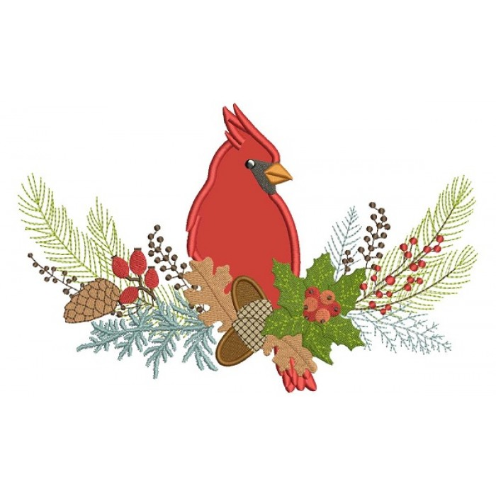 Red Robin Sitting On a Branch Winter Christmas Applique Machine Embroidery Design Digitized Pattern