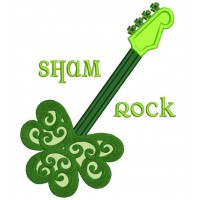 Sham Rock Guitar St Patrick's Day Irish Applique Machine Embroidery Design Digitized Pattern