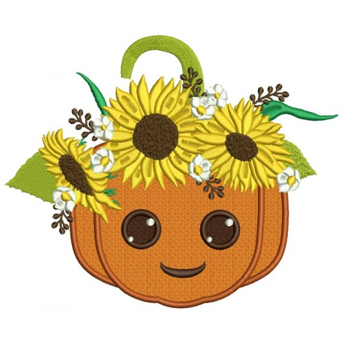 Smiling Pumpkin With Sunflowers Thanksgiving Filled Machine Embroidery Design Digitized Pattern