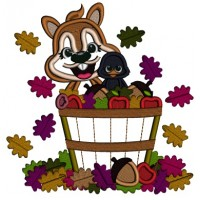Squirrel Sitting In The Basket With Acorns And Leaves Fall Applique Machine Embroidery Design Digitized Pattern