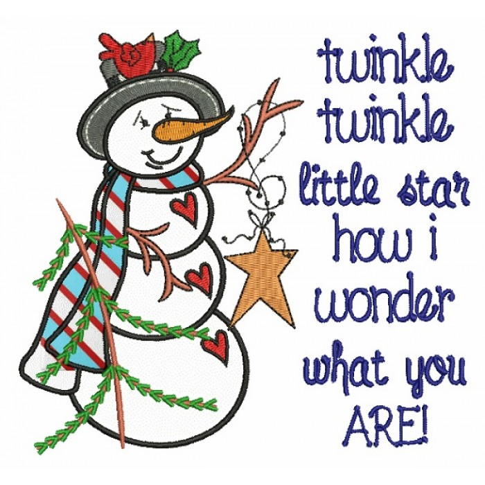 Twinkle Twinkle Little Star How I Wonder What You Are Snowman Christmas Applique Machine Embroidery Design Digitized Pattern
