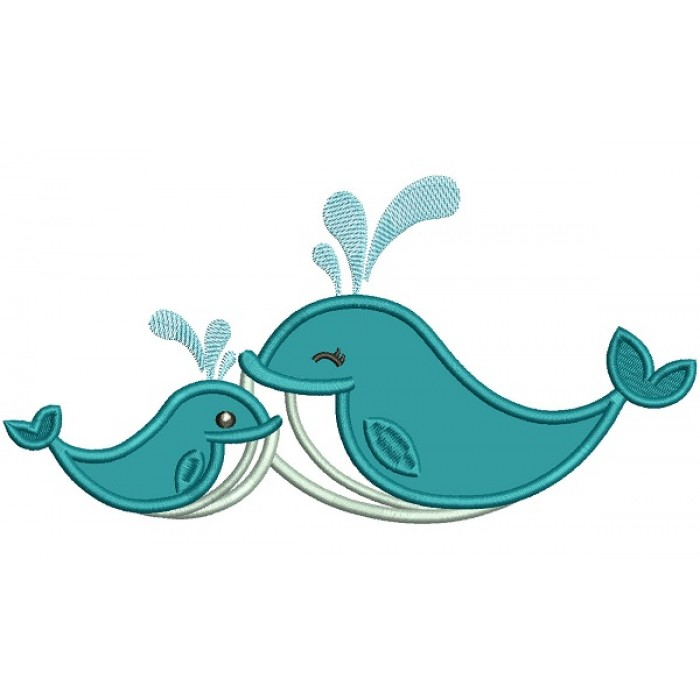 Two Whales Applique Machine Embroidery Design Digitized Pattern