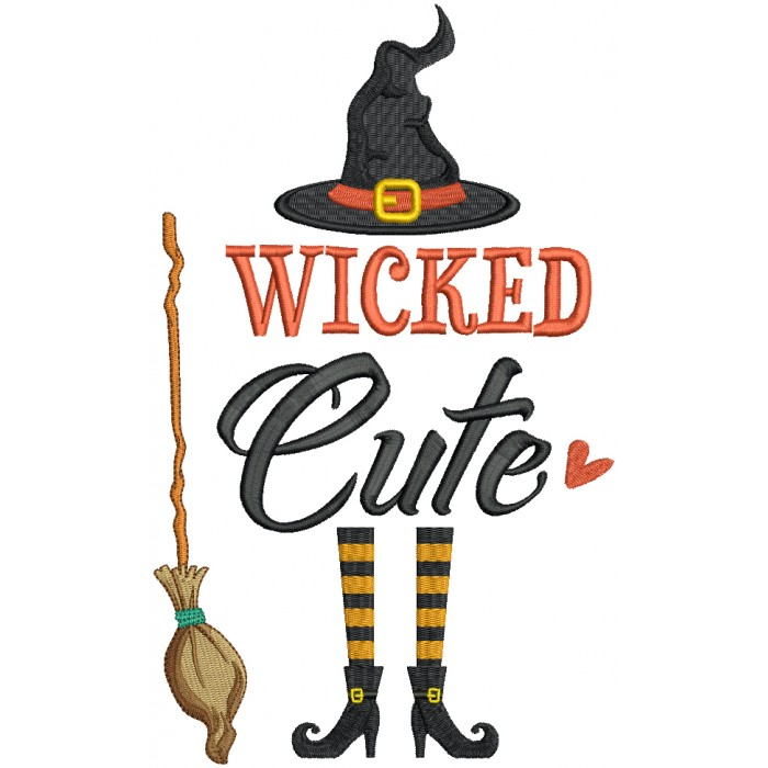Wicked Cute Witch With a Broom Halloween Filled Machine Embroidery Design Digitized Pattern