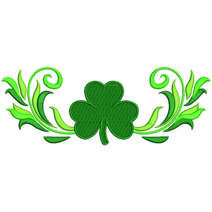 Wide Ornamental Shamrock St. Patrick's Day Filled Machine Embroidery Design Digitized Pattern