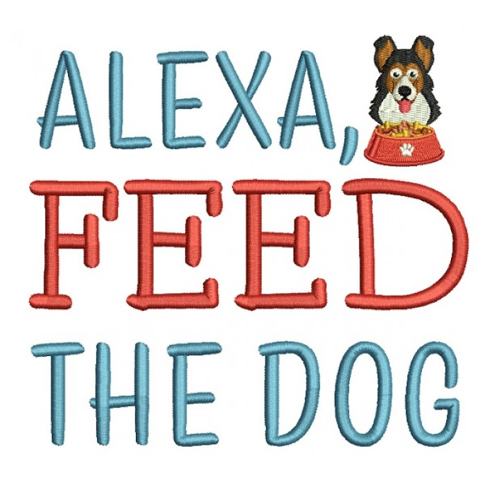 Alexa Feed The Dog Filled Machine Embroidery Design Digitized Pattern
